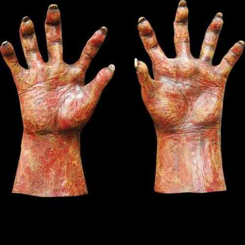 Monster / Devil hands Red flesh - Large - Very scary Realistic Halloween horror masks and Costumes :  monster flesh hands mask