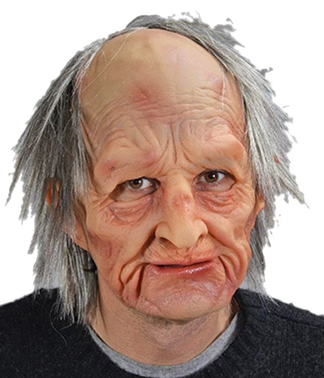 old man barry latex mask with hair realistic
