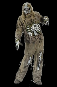 Zombie skeleton costume - with mask - Halloween masks, horror masks, scary masks, latex masks, realistic masks