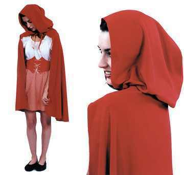 quality velvet style cloak with hood in red