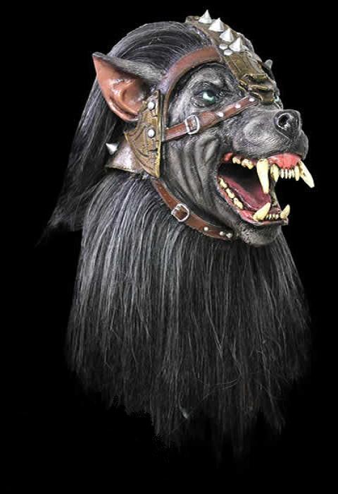 El lobo negro de látex máscara del horror