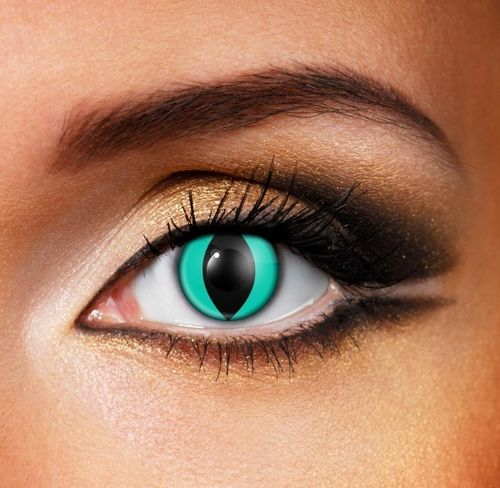 Aqua Cat contact lenses - Pair of lenses for cat creatures