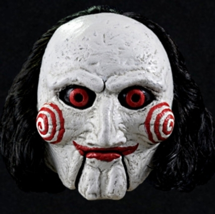 saw puppet mask jigsaw billy super deluxe