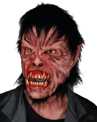 Werewolf mask with wolf hair and teeth - full head mask